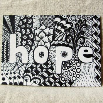 cool idea for a zentangle -- start with a word in the center and work your way around it.
