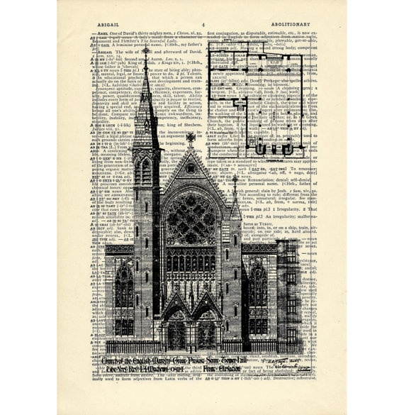 Dictionary art vintage church of martyrs by DarkIslandCity on Etsy, $9.00