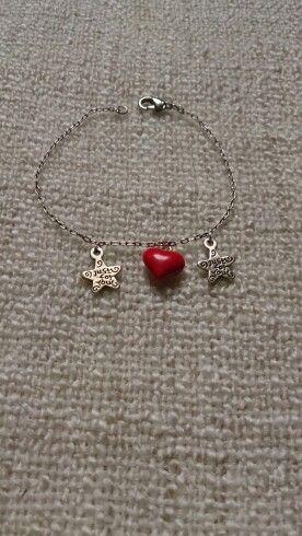 Bracelet coeur émaillé rouge