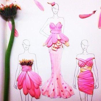 ピンクガーベラを使ったドレス。 花びらだけでなく、おしべやめしべまで使われています。