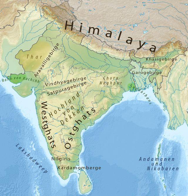 Topografische Karte Indiens ◆Indien – Wikipedia http://de.wikipedia.org/wiki/Indien #India