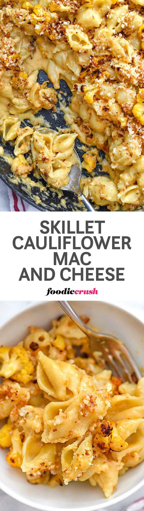 This ultimate comfort food recipe gets a veggie bump with caramelized cauliflower added to this smooth and velvety cheesy pasta for a new family favorite   foodiecrush.com #macandcheese #comfortfood #cauliflower