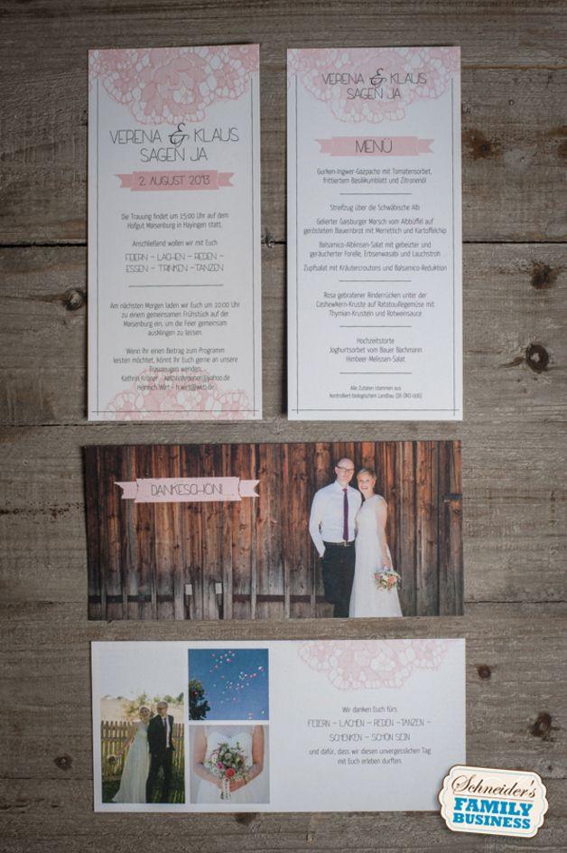 """Einladungskarten - 60x Hochzeitseinladung """"rosa Spitze"""" – vintage - ein Designerstück von schneidersfamilybusiness bei DaWanda"""