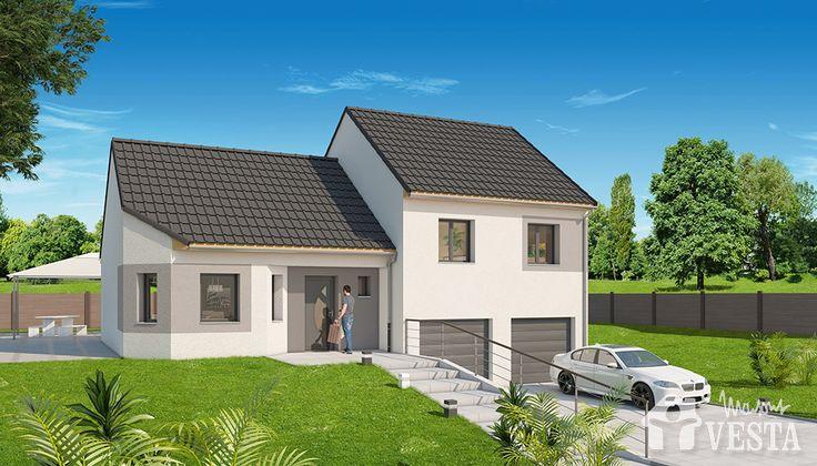 Maisons VESTA  Modèle Montana (demi-niveau) type F5 96 m² + surface - plan maison demi sous sol