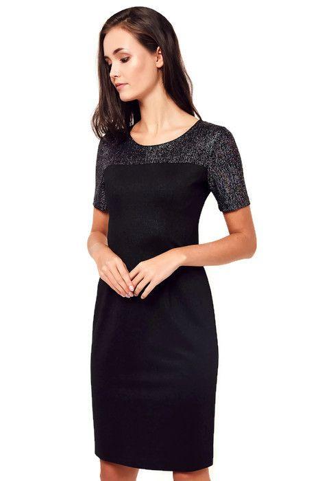 ce3260838b Elegancka sukienka XXL IWONA 42-52 brokatowy karczek - XELKA odzież damska  online