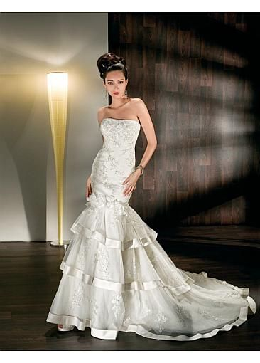Image of Gorgeous Tulle & Satin Strapless Neckline 2 In 1 Wedding Dresses