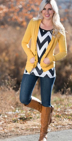 Kenzie Chevron Top & Mustard Sweater! Love this!!                                                                                                                                                                                 More