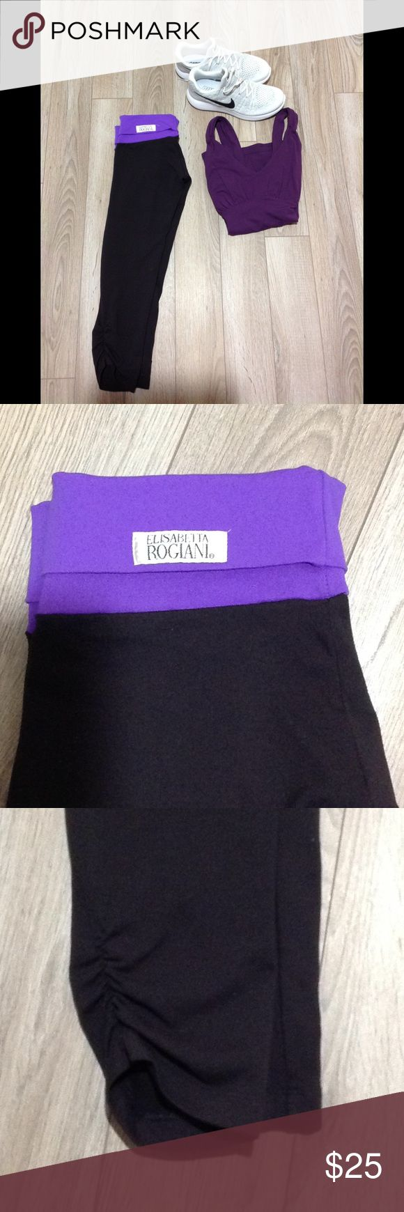 Elisabetta Rogiani Purple Capri leggings small Purple Elisabetta Rogiani Capri leggings with gathered legs fold waist.    Super cute for yoga, the gym, running or for athleisure wear.   Great preowned condition. Elisabetta Rogiani Pants Ankle & Cropped