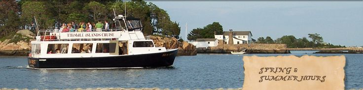Branford CT Daily 45-minute narrated sightseeing cruise of the Thimble Islands aboard the Sea Mist. Foliage cruises, seal watch cruises, party or dinner cruises.