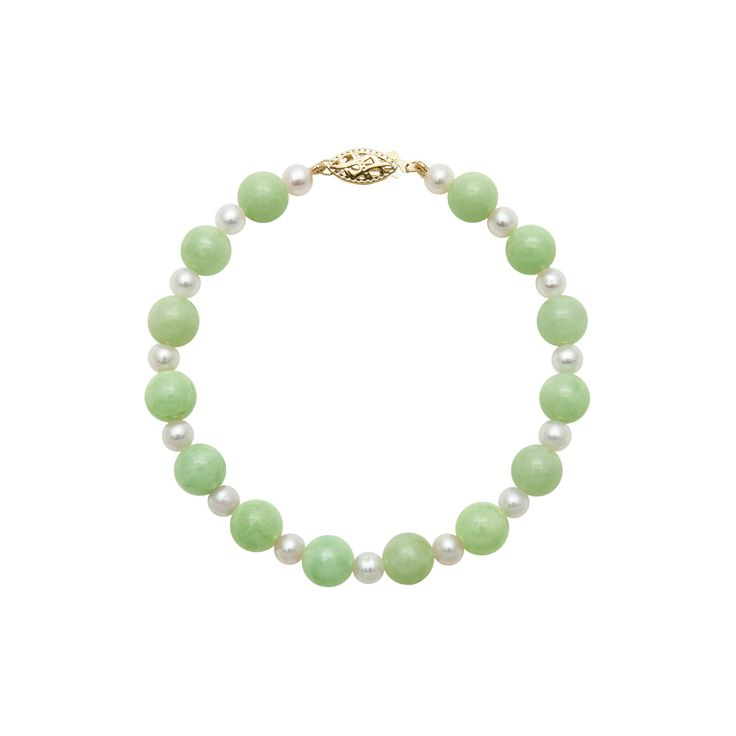 14k Gold Jade and Freshwater Cultured Pearl Bracelet, Women's, Size: 7.50, Green