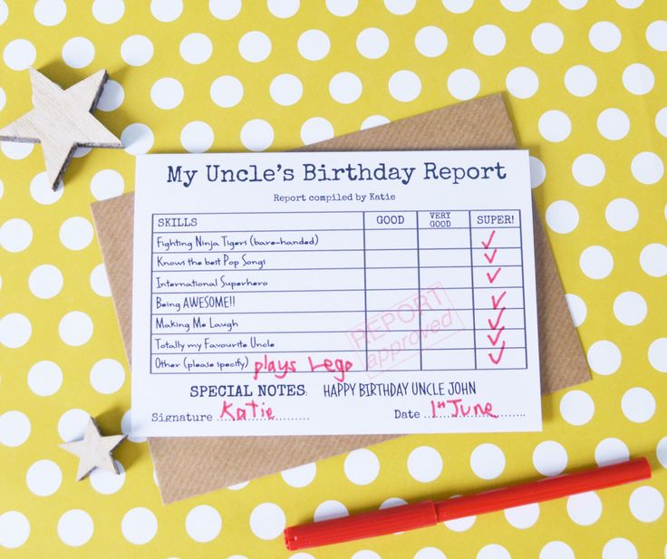 Personalised Uncle's Birthday Card, Superhero Card, Birthday Report Card by MakeWithMum on Etsy