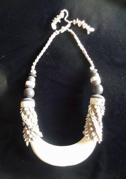 Stone Sea Shell Necklace Tribal Papua Art Jewelry Home Decor Interior Designer #Unbranded