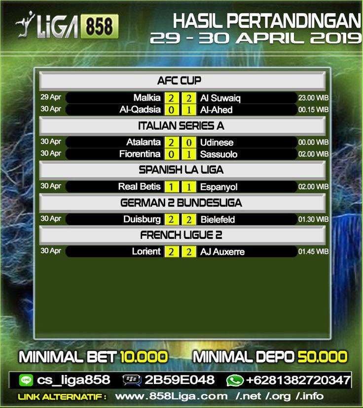 Hasil Pertandingan Sepak Bola Tanggal 29 30 April 2019