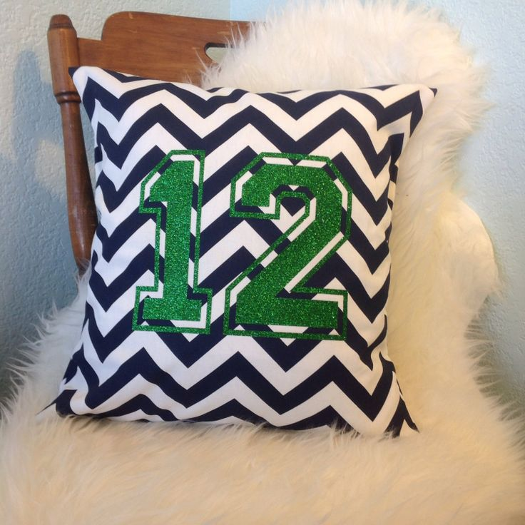 18 x 18 Seahawks 12th man pillow by GingerCottage on Etsy, $18.00