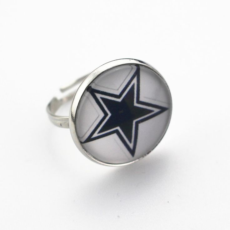 Wholesale 10pcs/lot NFL Dallas Cowboys Football Team Silver Glass Ring For Man Adjustable Sport Ring DIY Jewelry