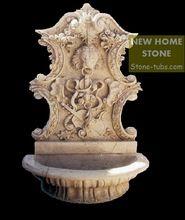 Fonte de água jardim de parede pequeno com leão escultura de pedra de mármore bege Exterior robusto leão escultura da fonte(China (Mainland))