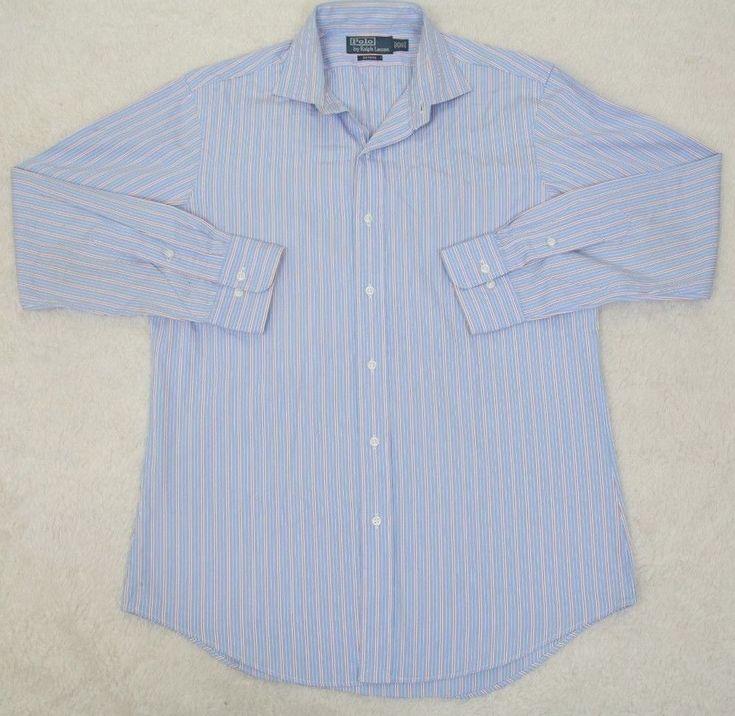 Ralph Lauren Polo Dress Shirt Long Sleeve Button Up 15.5 32/33 Blue White Orange #RalphLauren #dressshirt