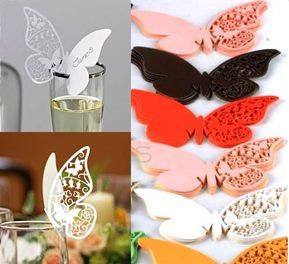 laser cut butterfly wine glass tag