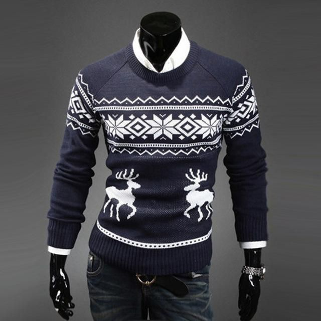 Reindeer pattern men's round neck slim fit ugly christmas sweater