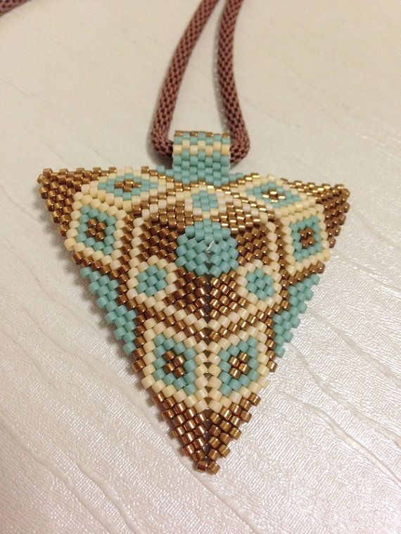 Peyote stitch.Triangle  neckless. Pendant by gemstonejewelery, $32.00