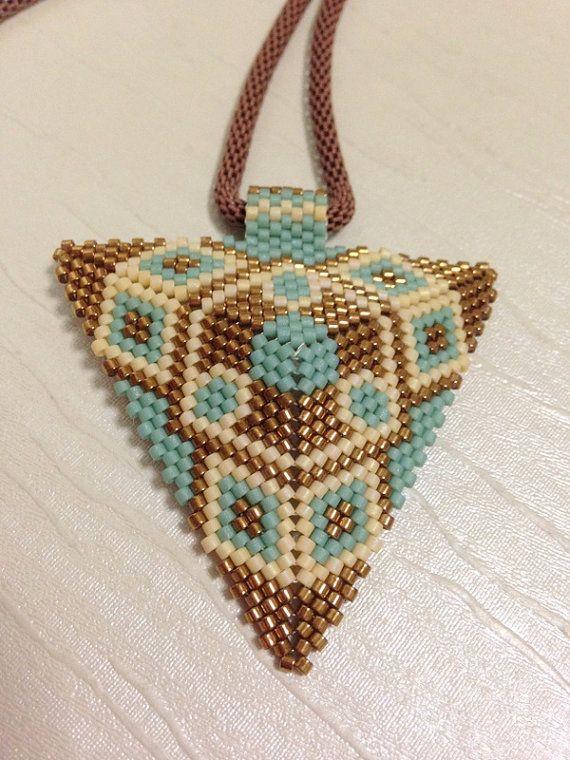 Peyote stitch.Triangle  neckless. Pendant by gemstonejewelery, $32.00