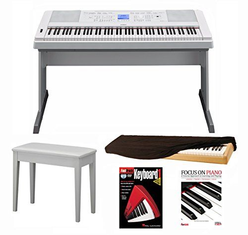 Yamaha DGX660W 88 Key Digital Piano (White) with Knox Piano Bench Dust Cover and Book/DVD -- You can get additional details at the image link.