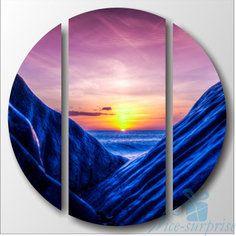 Круглая модульная картина Триптих Синие скалы NS-967