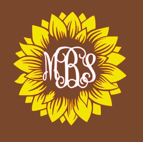 Sunflower Monogram Svg Monogram Decal Vinyl Monogram