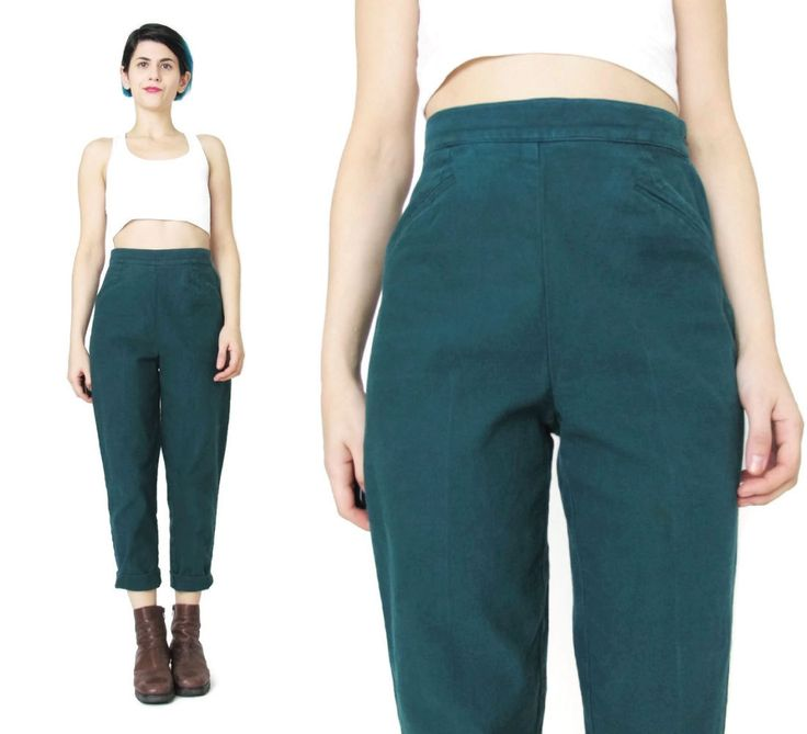 New to honeymoonmuse on Etsy: 90s Dark Green Pants High Waisted Pants Hunter Forest Green Pants Petites High WaistJeans Tapered Leg Trousers Grunge Cropped Pants (S/M) (60.00 CAD)