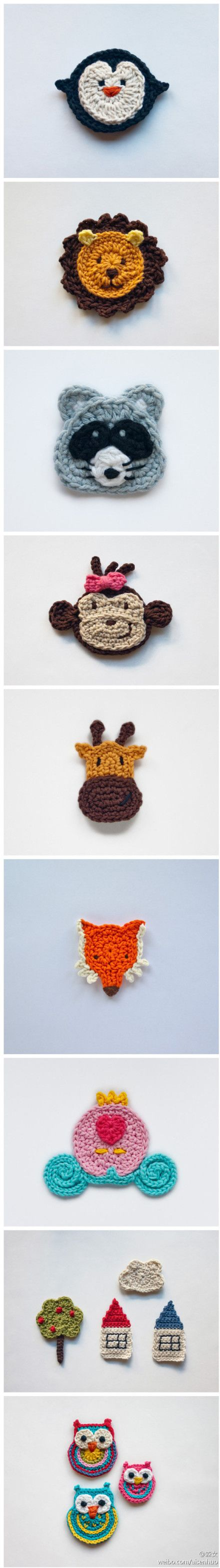 Crochet animals, can be used to embelish hats etc