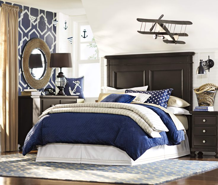 A nautical boys bedroom. HomeDecorators.com