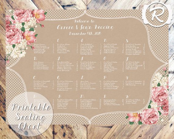 Vintage rustic style floral printable seating plan http://www.toptableplanner.com/blog/vintage-chic-wedding-seating-plans
