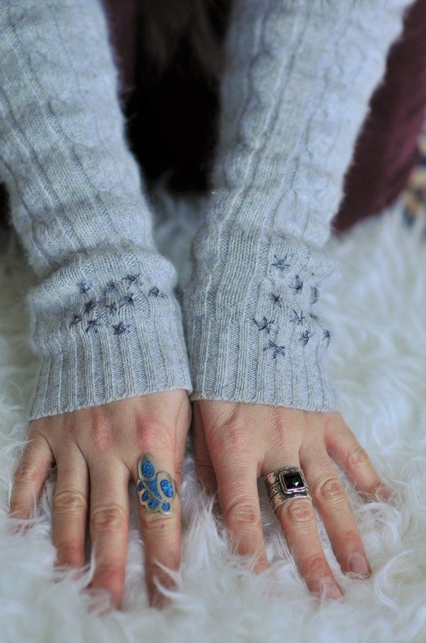 DIY: Embroidered arm warmers | Kiku Corner