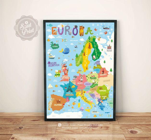 Plakat Mapa EUR - Duży - Szast-i-Prast - Plakaty dla dzieci