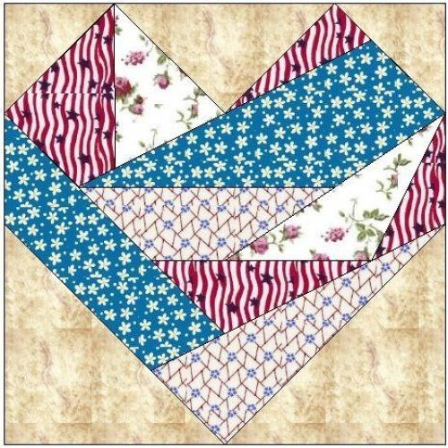 Free Printable Crazy Quilt Patterns | ALL STITCHES - CRAZY HEART PAPER PIECING QUILT BLOCK PATTERN .PDF-063A ...