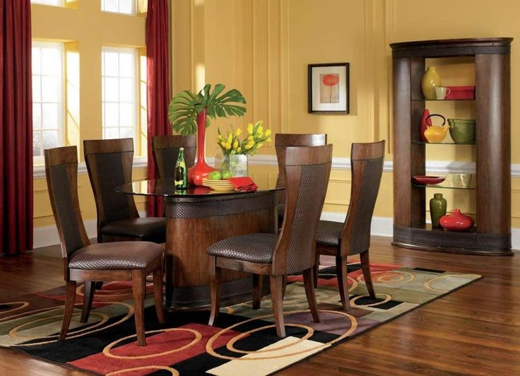 Cool Dining Room Design With Round Glass Dining Table Plus Brown Dining  Chair Set On Oval