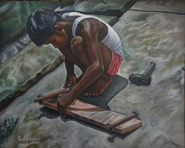 BOY MAKING SKATEBOARD 16 & 20 Inches, Oil on Canvas If you do not have the money to buy a skateboard, just make one. I mean how hard could that be and that is the mindset of this positive young boy. A positive energy that the adults often miss to have.
