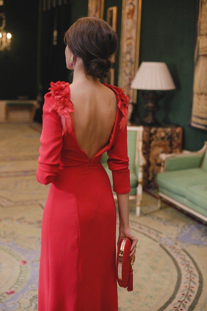 6f2c3a484e8 Look invitada boda noche vestido rojo largo espalda | moda en 2019 ...
