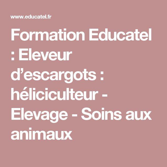 Formation Educatel : Eleveur d'escargots : héliciculteur - Elevage - Soins aux animaux