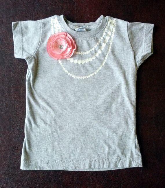 Necklace and Flower Embellished Shirt by TreeTownBoutique on Etsy