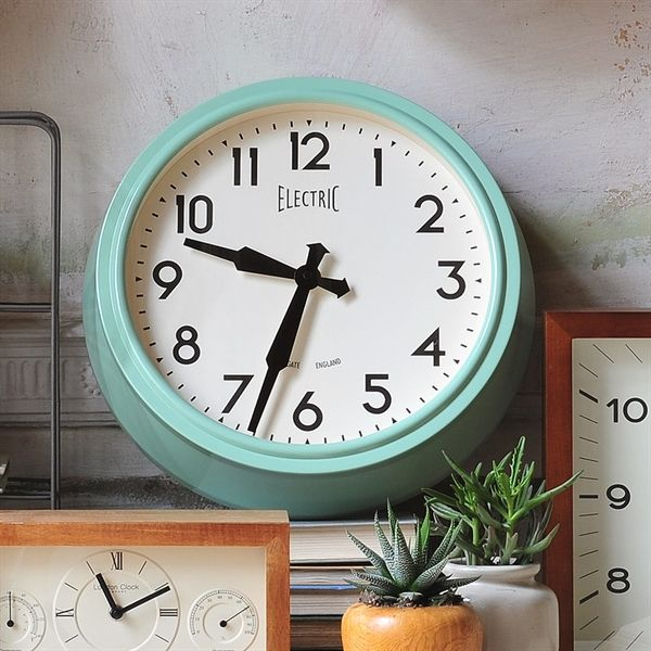 Newgate 1950s Style Electric Wall Clock - Kettle Green Mint Green Wall Clock, Mint Green Round Clock, Retro Wall Clock