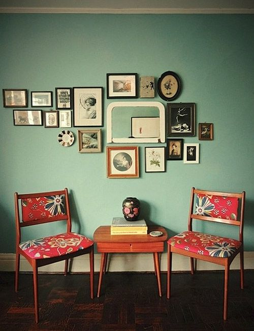 love the upcycled chairs and the frames layout. not forgetting that floor and the gorge wall colour