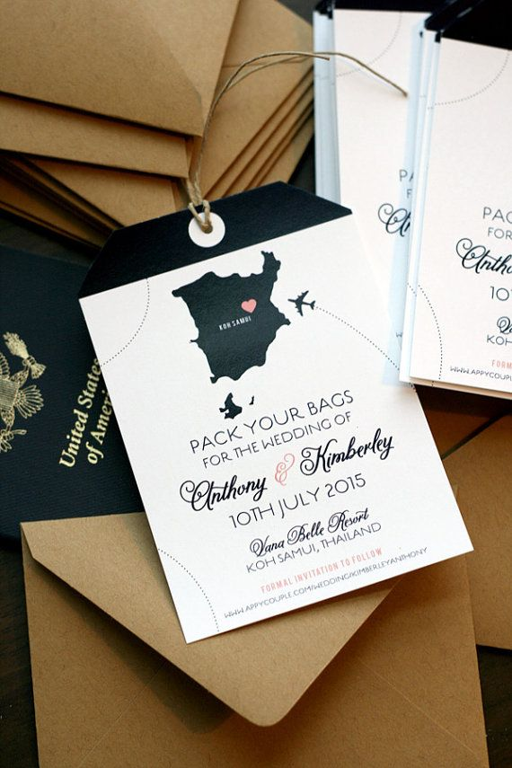 Destination Wedding Save the Date / Magnet / Luggage by deaandbean