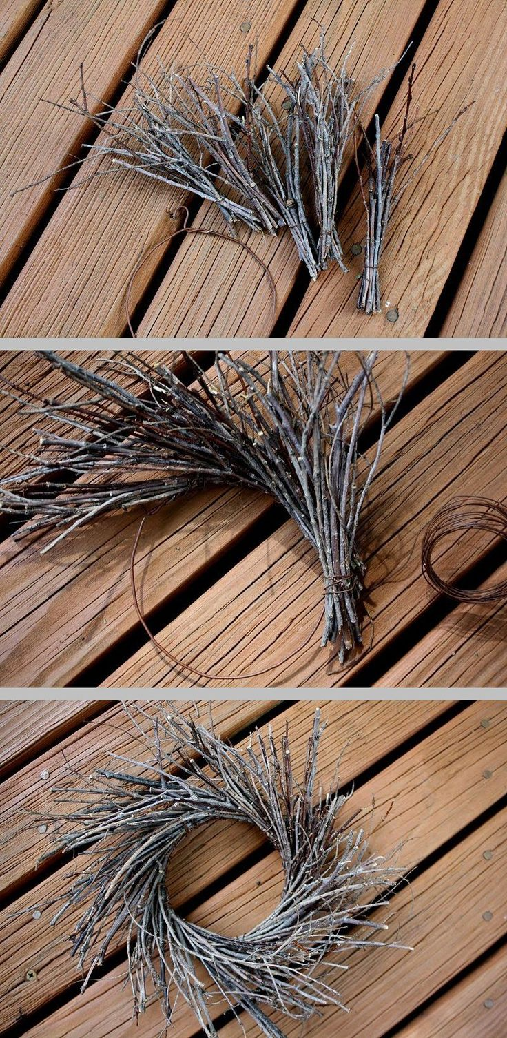 Tree branches for crafts - Diy Twig Wreath Shape Heavy Rusty Wire Into A 4 Circle Old Wire