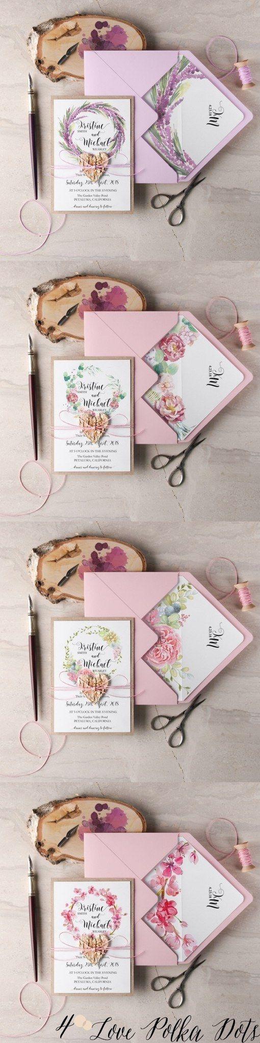 pink watercolor flower wreath wedding invitations #pinkwedding #lavenderwedding #purplewedding