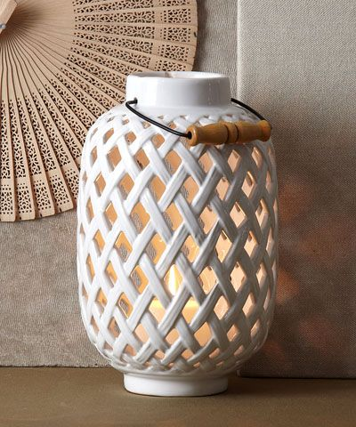 White Woven Lantern Ceramic Entrance Candles And Tables