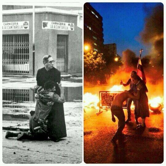 La historia es cíclica y tal como en 1962 esta vez también saldremos adelante de la mano de Dios #PrayForVenezuela.  Foto del cura Padilla en el porteñazo ( premio Pulitzer) y la monja bendiciendo guarimberos.