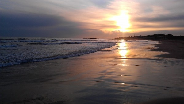 Beach sunset. Vilanova I la Geltru, Spain