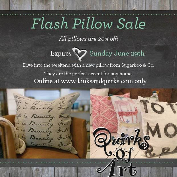 all sugarboo pillows are 20 off now through sunday with the code