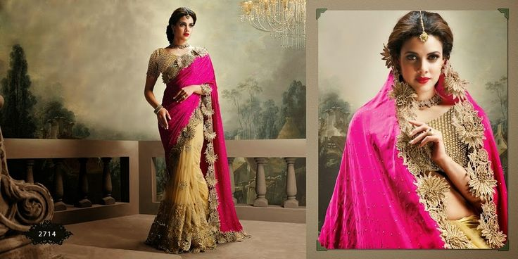 Very beautiful Wedding saree. Pink and Golden Colored pure Satin with beautiful heavy embroidery work Pallu. Along with Contrast Matching Netted Skirt and Embroidered Blouse